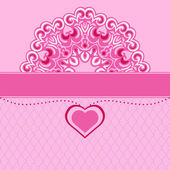 Valentines heart lace design background vector — Stock Vector