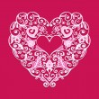 Valentines day card love heart ornate vector — Vettoriale Stock