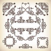 Vintage vektor typograhic ramar och diviiders — Stockvektor