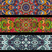 Festive ethnic colorfull abstract banner tribal set — Wektor stockowy