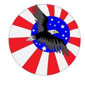 Eagle on the Flag USA — Stock Vector