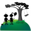 Silhouette of Children — Stock Vector