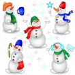 Stock Vector: Snowmen on White Background