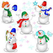 Snowmen on a White Background — Stock Vector