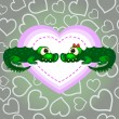 Crocodiles In Love Valentine's Day — Stock Vector
