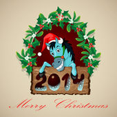 Christmas Blue Horse — Vetorial Stock