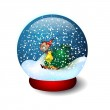 Illustration Glass Ball With Snow — Stock Vector