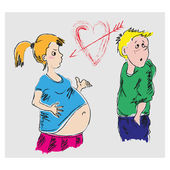 Drawing Pregnant Girl And A Guy — Stock Vector