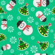 Seamless Snowman And Christmas Trees — ベクター素材ストック