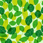 Green and Yellow Leaves Seamless — Stock Vector