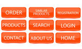 Eshop vector orange buttons — Stock Vector