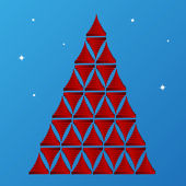 Glossy ribbon texture christmas tree — Wektor stockowy