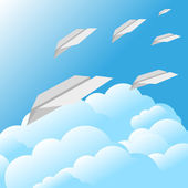 Blue sky clouds paper airplane background — Wektor stockowy