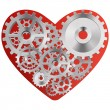 Stock Vector: Red heart with gears