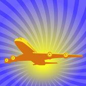 Vliegtuig opstijgen. — Stockvector