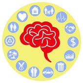 Cerebro y la mente. — Vector de stock