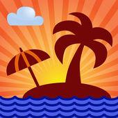 Island, palm, sunrise. — Stockvektor