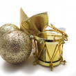 Gold Christmas tree ornaments — Stock Photo