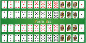 Poker set with isolated cards on green background — Διανυσματικό Αρχείο
