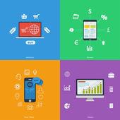 Symbole für wirtschaft, finanzen, handel, soziale medien — Stockvektor