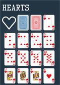 Poker set  - Hearts — Stock Vector
