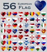 European flags in heart shape. — Stock Vector