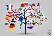 Map flags of Europe in tree design. — Stock Vector