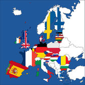 Europe map with the European Union member — Stock Vector
