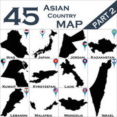 Maps of Asian country — Stock Vector