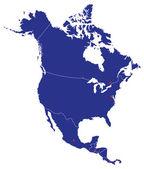 North America Map Silhouette — Stock Vector