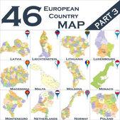 European political map set — Stock Vector