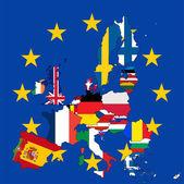 European Union member states flag map — Stock Vector
