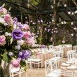 Bouquet of flowers in a ballroom party — Stock Photo