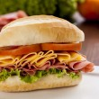 Mortadela sandwich — Stock Photo