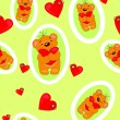 Seamless pattern with little bear — Stock Vector
