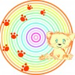 Background with a red small cat  — Imagens vectoriais em stock