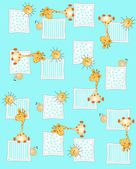 Seamless pattern with boy giraffes sun snail — Stock Vector