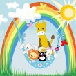 Baby animals on a rainbow — Stock Vector