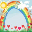 Summer rainbow and butterflies — Stock Vector
