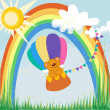 Stock Vector: Background rainbow summer bear by regional eye balloon blue sky