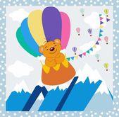 Montañas de invierno de fondo un oso por un globo de nube — Vector de stock