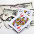 Stock Photo: Illegal gambling concept on white background