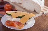 Healthy open vegetarian sandwich with cheese slices — Stock Photo