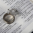 Two wedding rings on open Holy Bible — Stock Photo #39494813