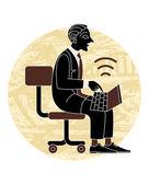 Hombre con el ordenador portátil — Vector de stock