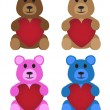 Stuffed Bears With Hearts — Stock Vector