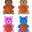 Постер, плакат: Stuffed Bears With Basketballs