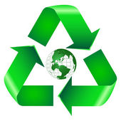 Recycle Symbol With Earth — Vettoriale Stock