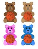 Stuffed Bears With Basketballs — Stock Vector