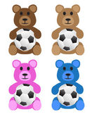 Stuffed Bears with Soccer Balls — Stock Vector